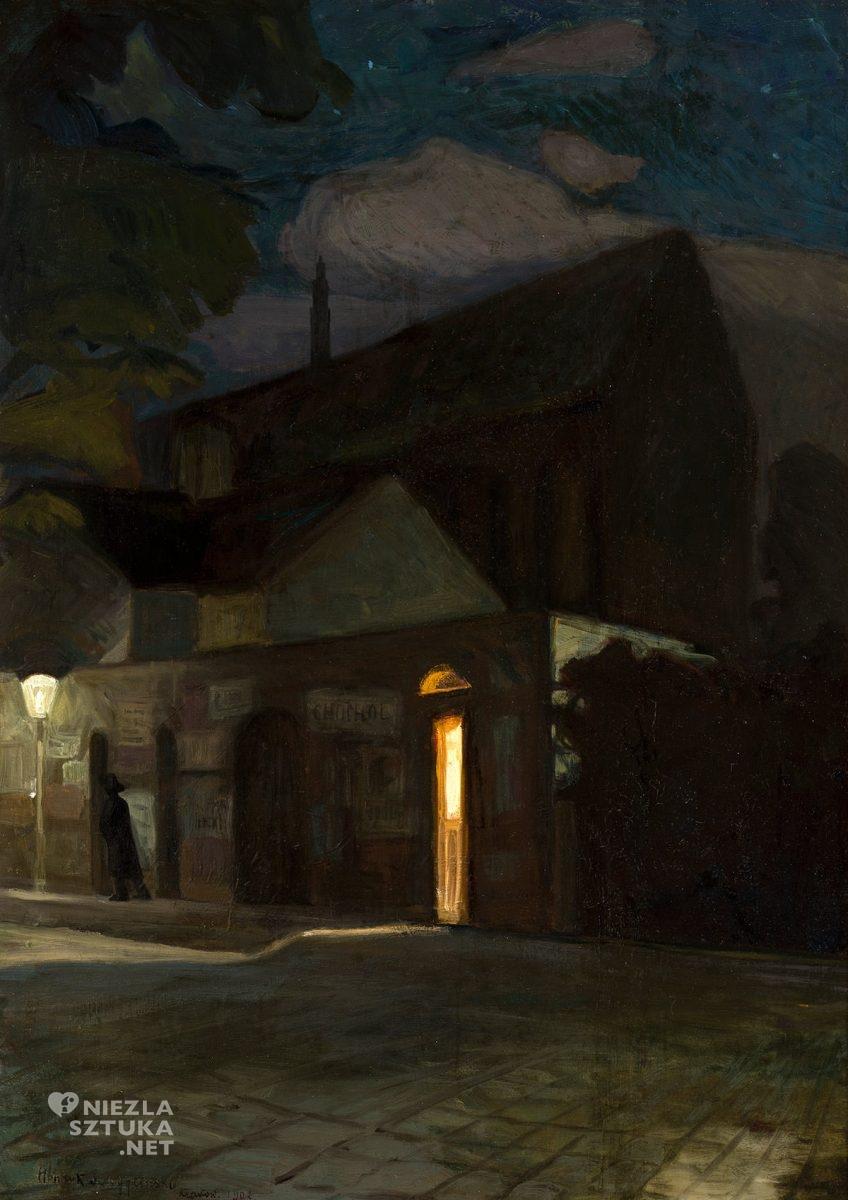 Henryk Szczygliński, Kościół Dominikanów w Krakowie w nocy, malarstwo polskie, sztuka polska, nokturn, Kraków, Niezła Sztuka