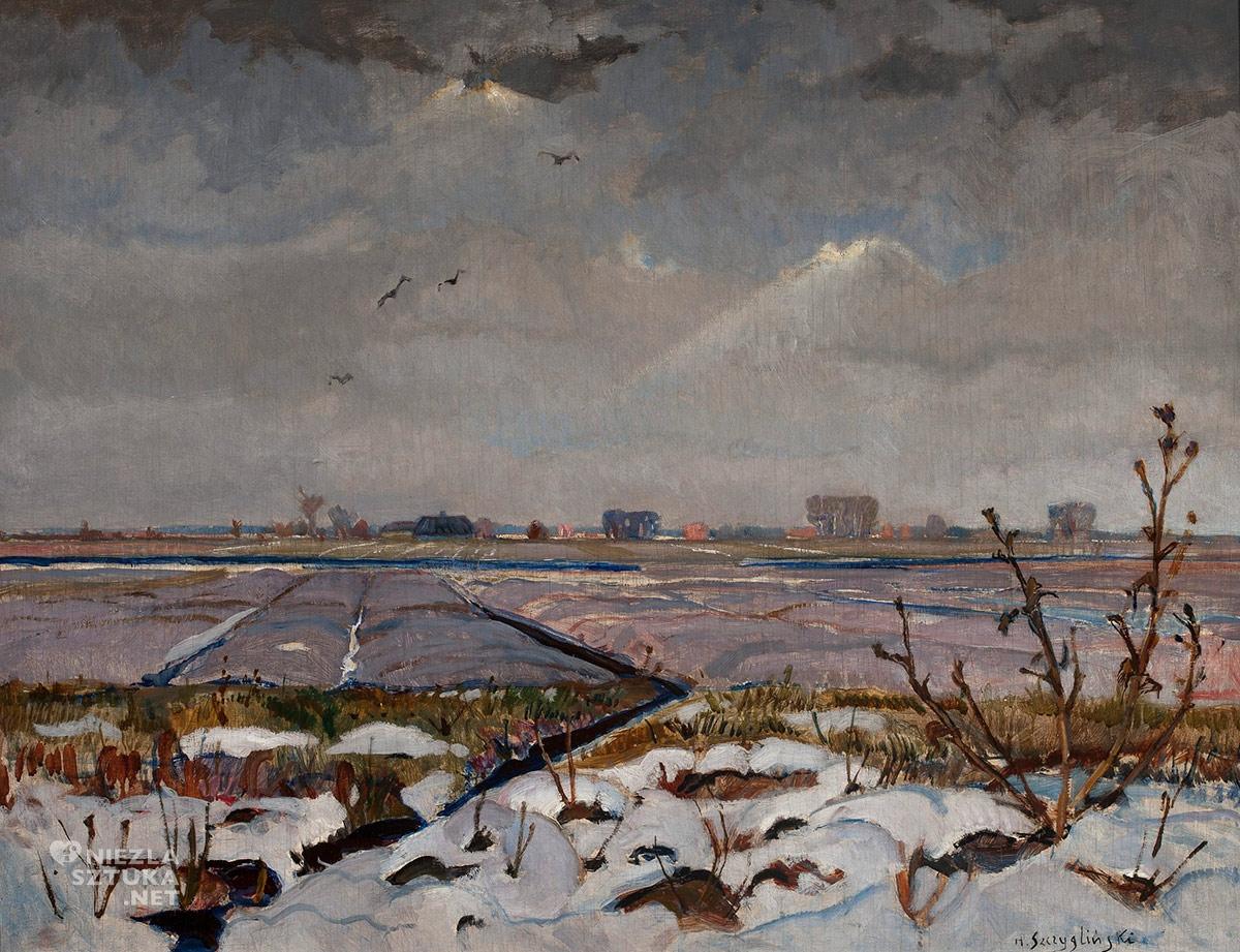 Henryk Szczygliński, Krajobraz zimowy, sztuka polska, malarstwo polskie, Niezła Sztuka