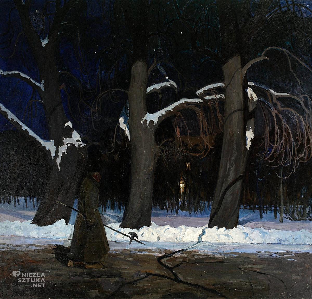 Henryk Szczygiński, Pejzaż zimowy nocą z halabardnikiem, malarstwo polskie, sztuka polska, Niezła Sztuka