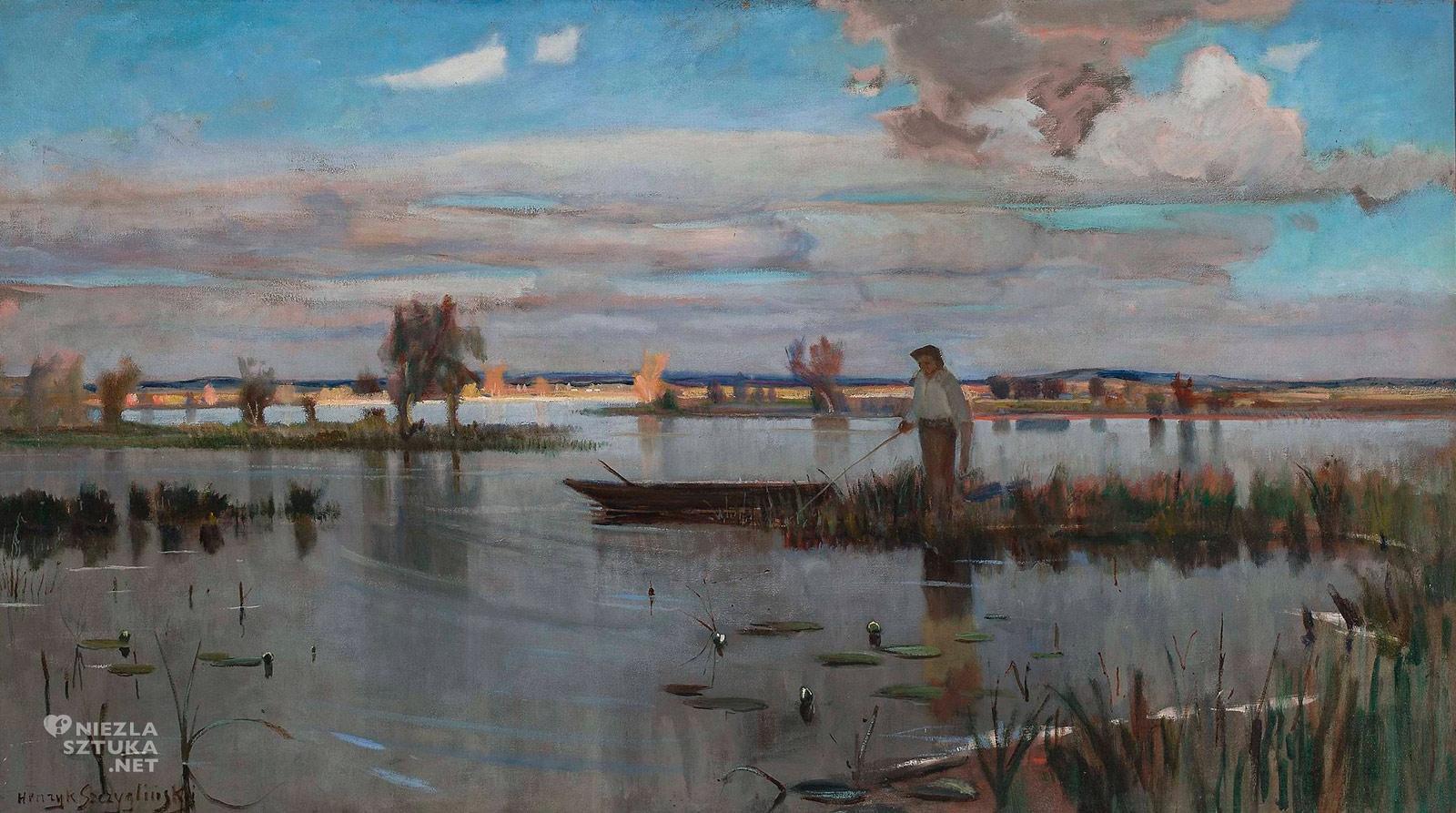 Henryk Szczygliński, Rybak na jeziorze, sztuka polska, malarstwo polskie, Niezła Sztuka