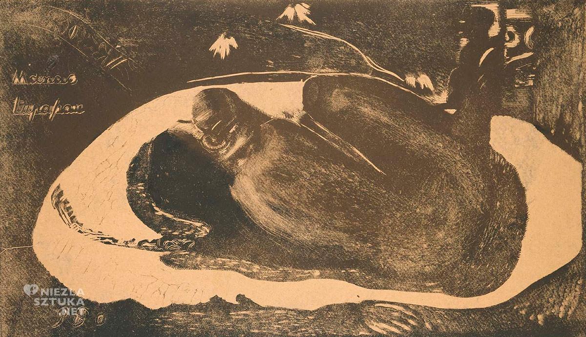 Paul Gauguin, Manao Tupapau, drzeworyt, postimpresjonizm, impresjonizm, postimpresjoniści, malarstwo Tahiti, malarstwo Polinezji, podróże Gauguina, duch, Tupapaus, dziennik Noa Noa, Niezła Sztuka