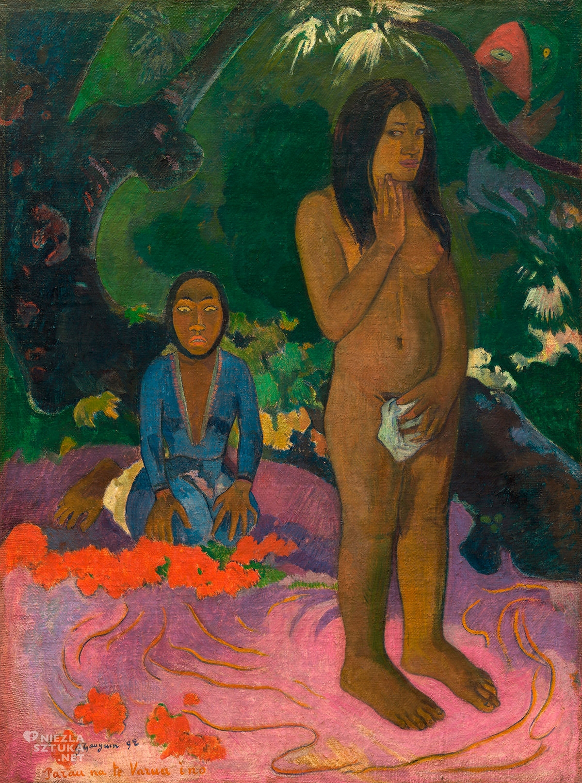 Paul Gauguin, Parau na te Varua ino, postimpresjonizm, impresjonizm, postimpresjoniści, malarstwo Tahiti, malarstwo Polinezji, podróże Gauguina, Niezła Sztuka