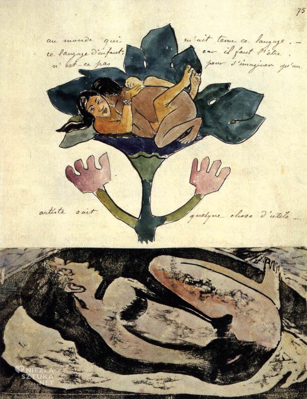Paul Gauguin, Manao Tupapau, akwarele Gauguina, dziennik Noa Noa, postimpresjonizm, impresjonizm, postimpresjoniści, malarstwo Tahiti, malarstwo Polinezji, podróże Gauguina, duch, Tupapaus, Niezła Sztuka