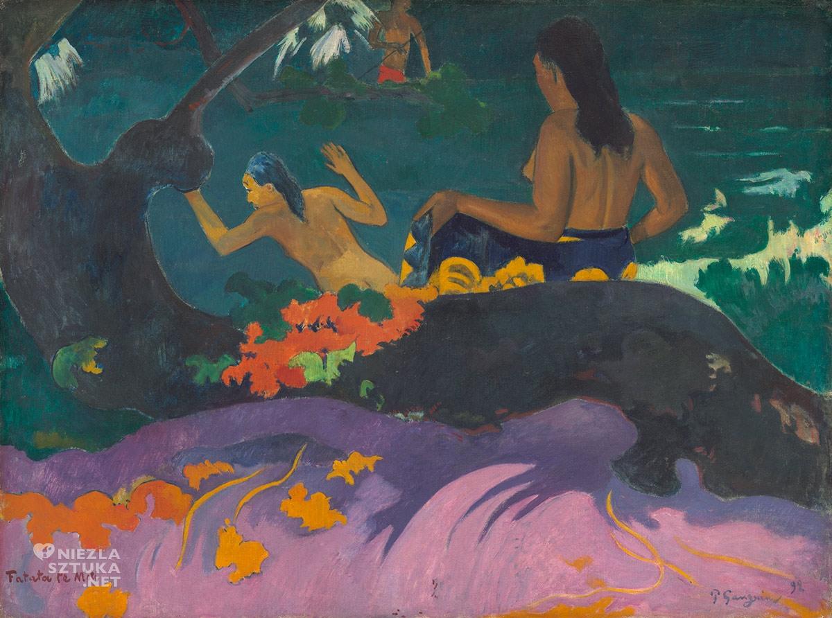Paul Gauguin, Fatata te miti, duch Tupapau, postimpresjonizm, impresjonizm, postimpresjoniści, malarstwo Tahiti, malarstwo Polinezji, podróże Gauguina, Niezła Sztuka