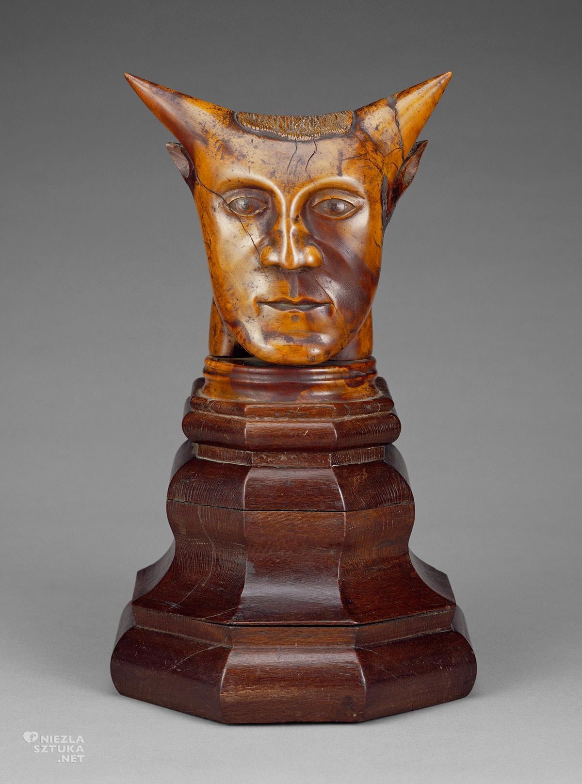 Paul Gauguin, Głowa z rogami, rzeźba Gauguina, postimpresjonizm, impresjonizm, podróż Gauguina, Wyspy Polinezji, Wyspy Pacyfiku, Tahiti, Niezła Sztuka