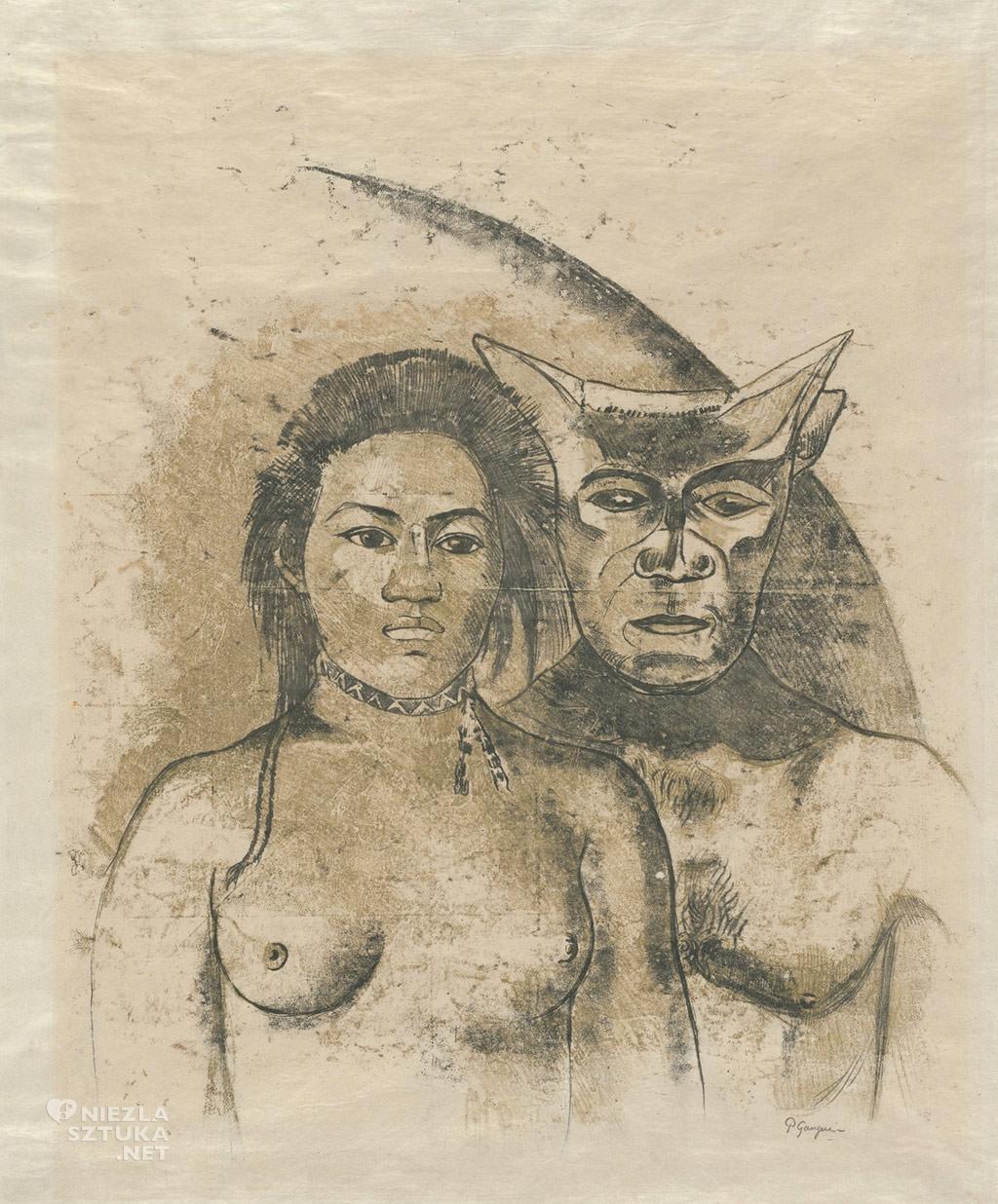 Paul Gauguin, Tahitańska kobieta ze złym duchem, szkic Gauguina, dziennik Noa Noa , postimpresjonizm, diabeł, zły duch, twórczość Gauguina na Thaiti, sztuka Thaiti, Niezła sztuka