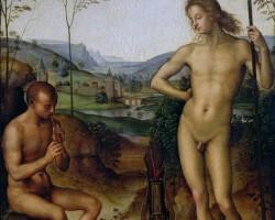 Perugino, Apollo i Marsjasz, Apollo i Dafnis, malarstwo włoskie, sztuka włoska, renesans, mitologia, Niezła sztuka