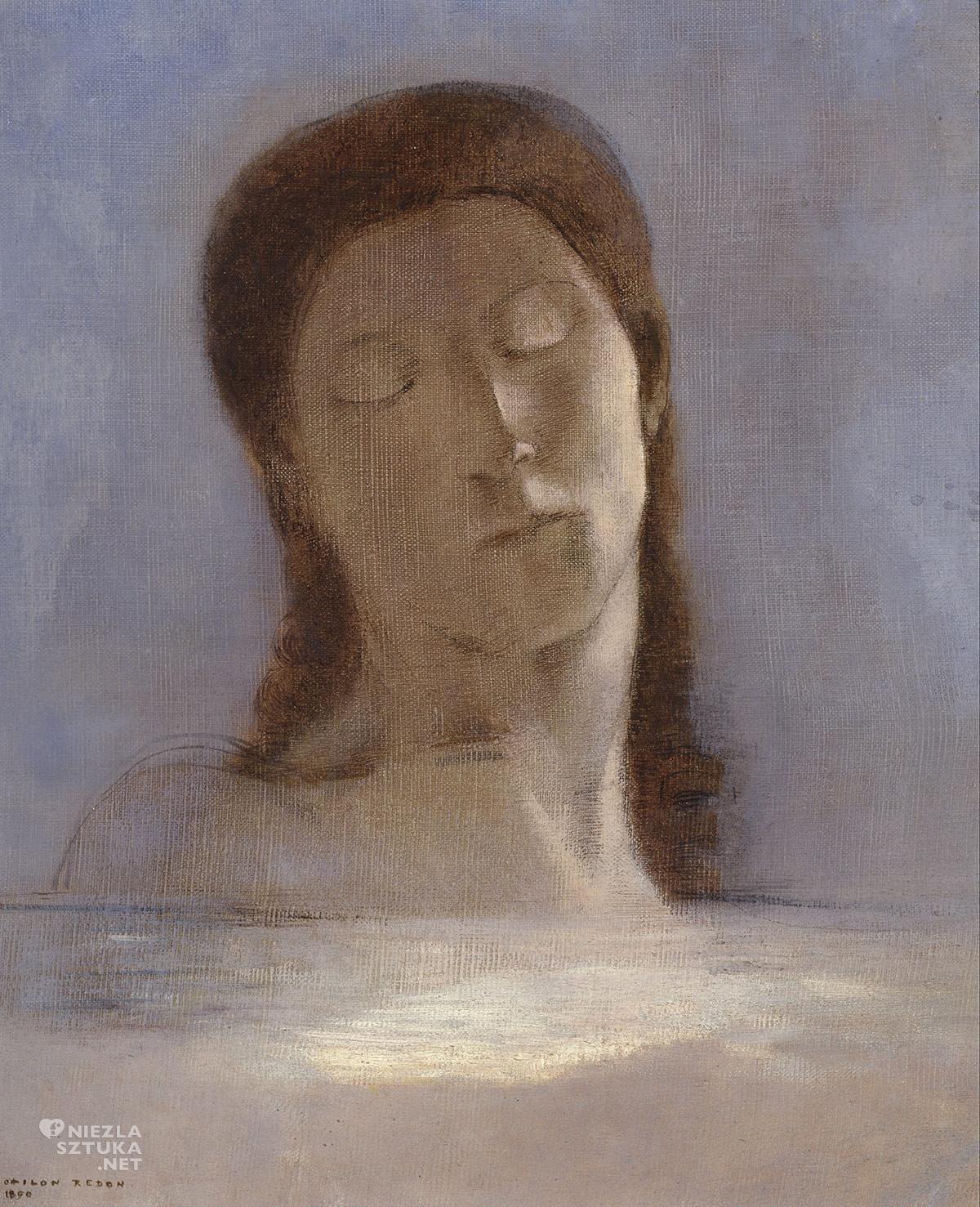 Odilon Redon, Zamknięte Oczy, malarstwo europejskie, symbolizm, Niezła Sztuka