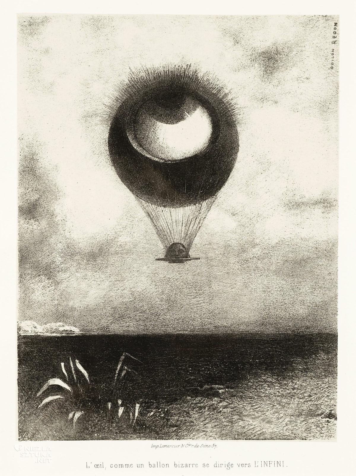 Odilon Redon, Oko balon, symbolizm, litografia, Niezła Sztuka