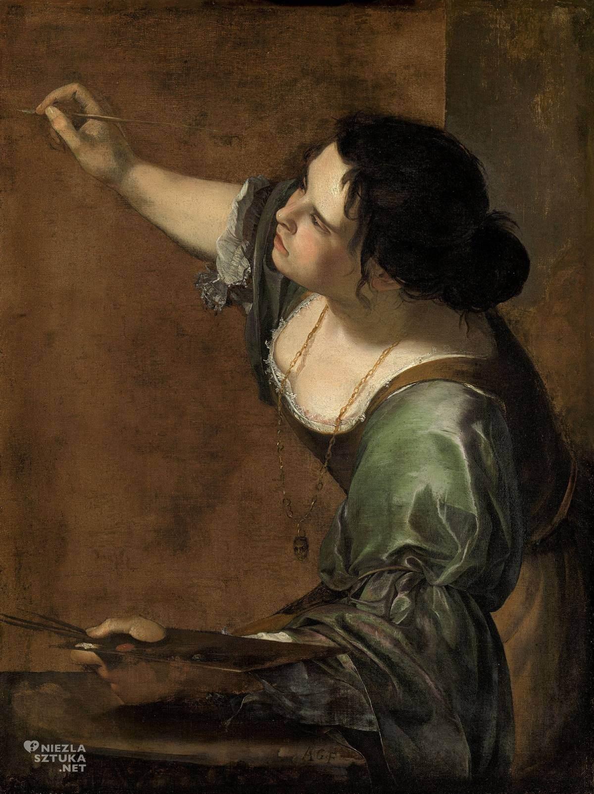 Artemisia Gentileschi, Autoportret, alegoria malarstwa, sztuka włoska, malarstwo włoskie, kobiety w sztuce, malarka, Niezła sztuka