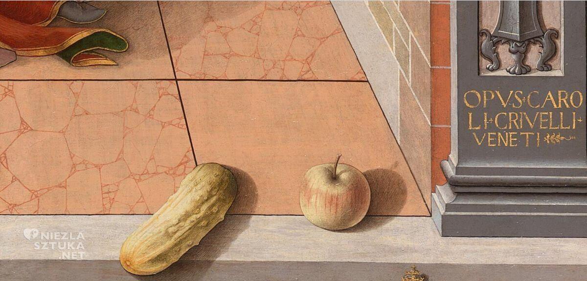Carlo Crivelli, Zwiastowanie ze św. Emidiuszem, malarstwo włoskie, sztuka włoska, renesans, Niezła Sztuka
