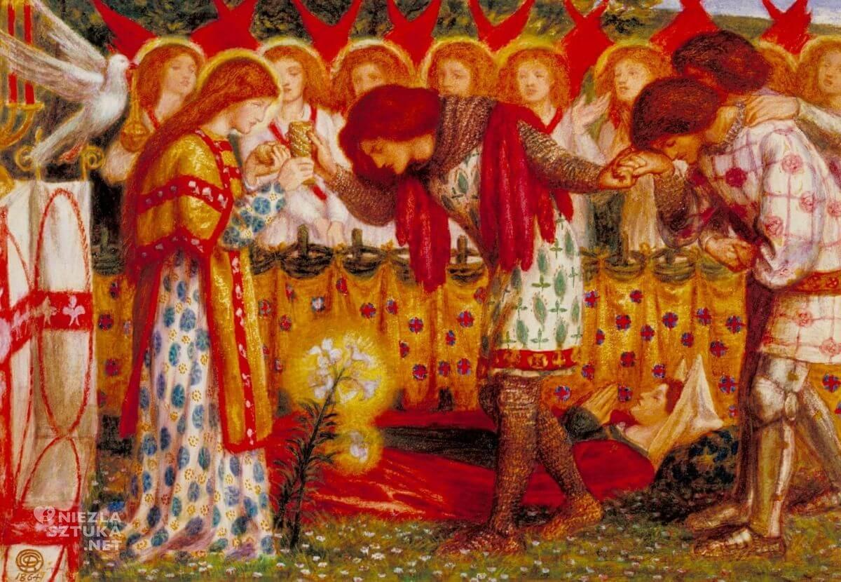 Dante Gabriel Rossetti, Parsifal, Percival , prerafaelici, legenda króla Artura, legendy arturiańskie, Niezła sztuka