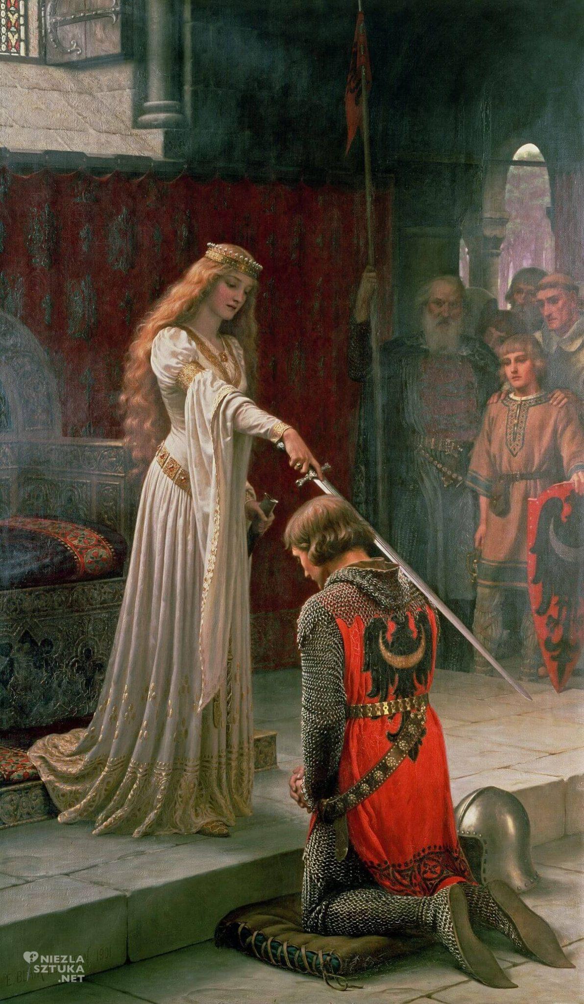 Edmund Leighton, Pasowanie na rycerza, prerafaelici, legenda króla Artura, legendy arturiańskie, Niezła sztuka