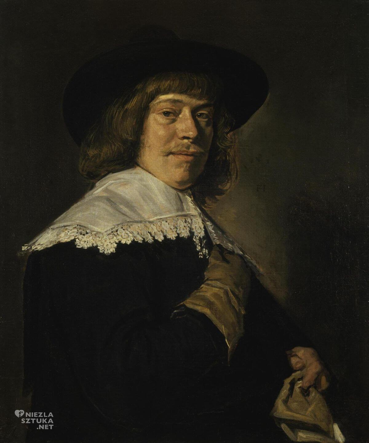 Frans Hals, Portret młodego mężczyzny trzymającego rękawiczkę, malarstwo holenderskie, Niezła sztuka