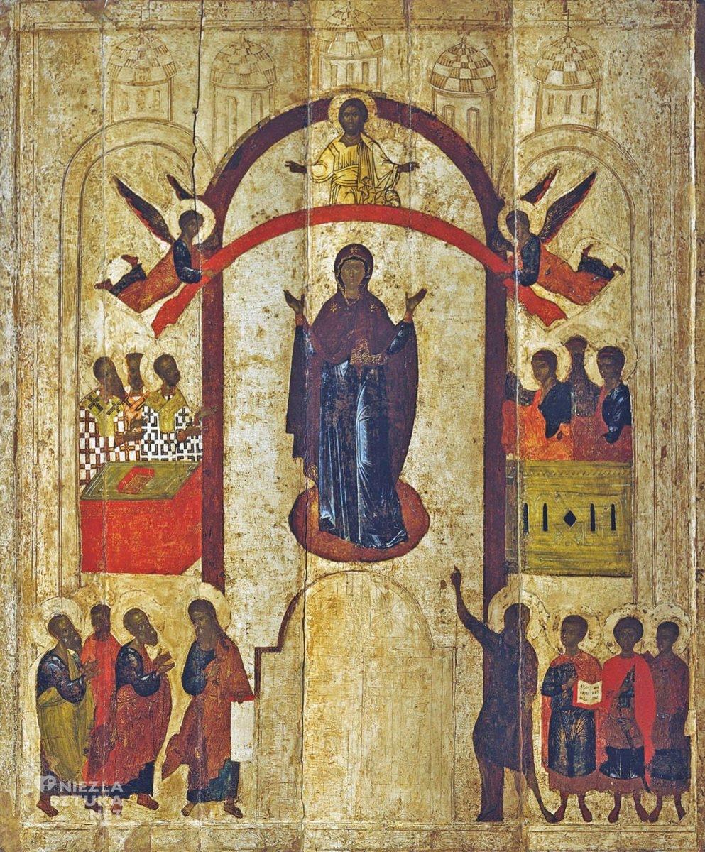 Ikona, Szkoła Nowogrodzka, Matka Boska, sztuka religijna, Niezła Sztuka