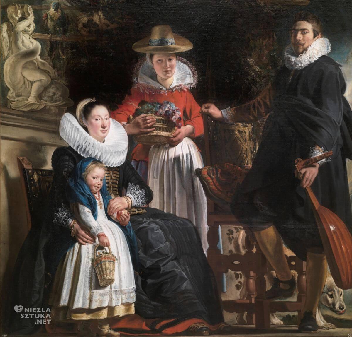 Jacob Jordaens, Autoportret z rodziną, sztuka flamandzka, malarstwo flamandzkie, autoportret, Niezła sztuka