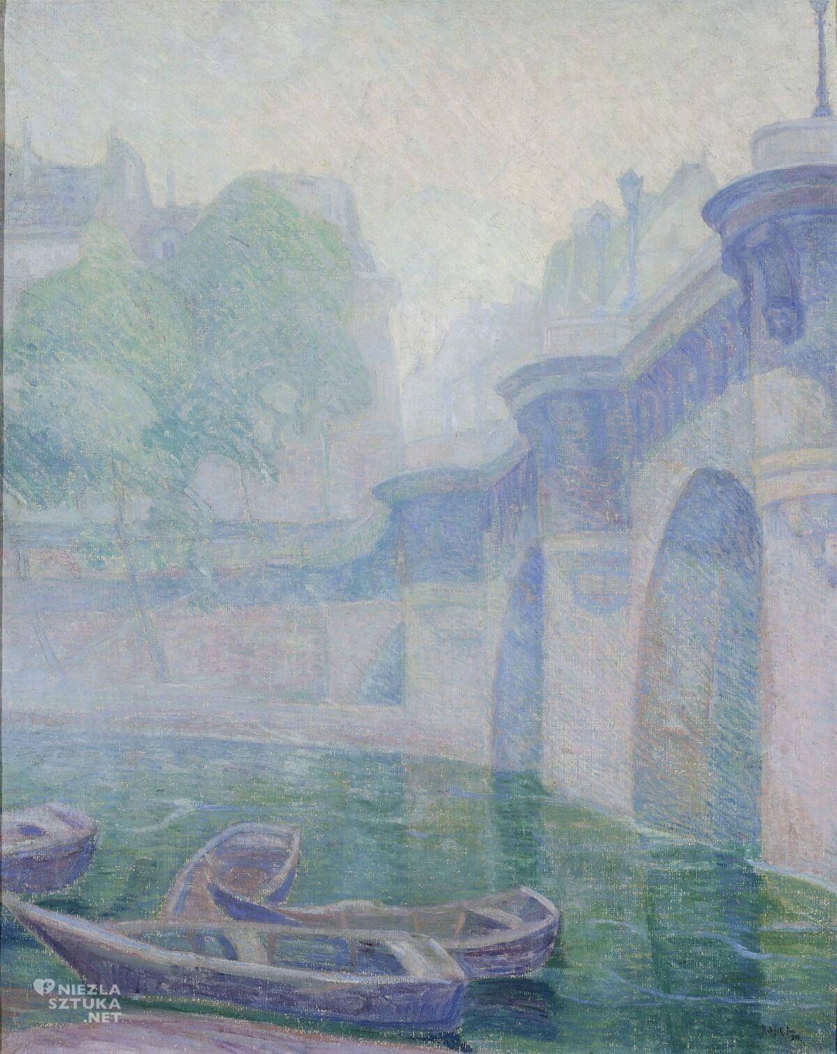 Jan Rubczak, Pont Neuf, deszczowy dzień, pejzaż, sztuka polska, malarstwo polskie, Niezła sztuka