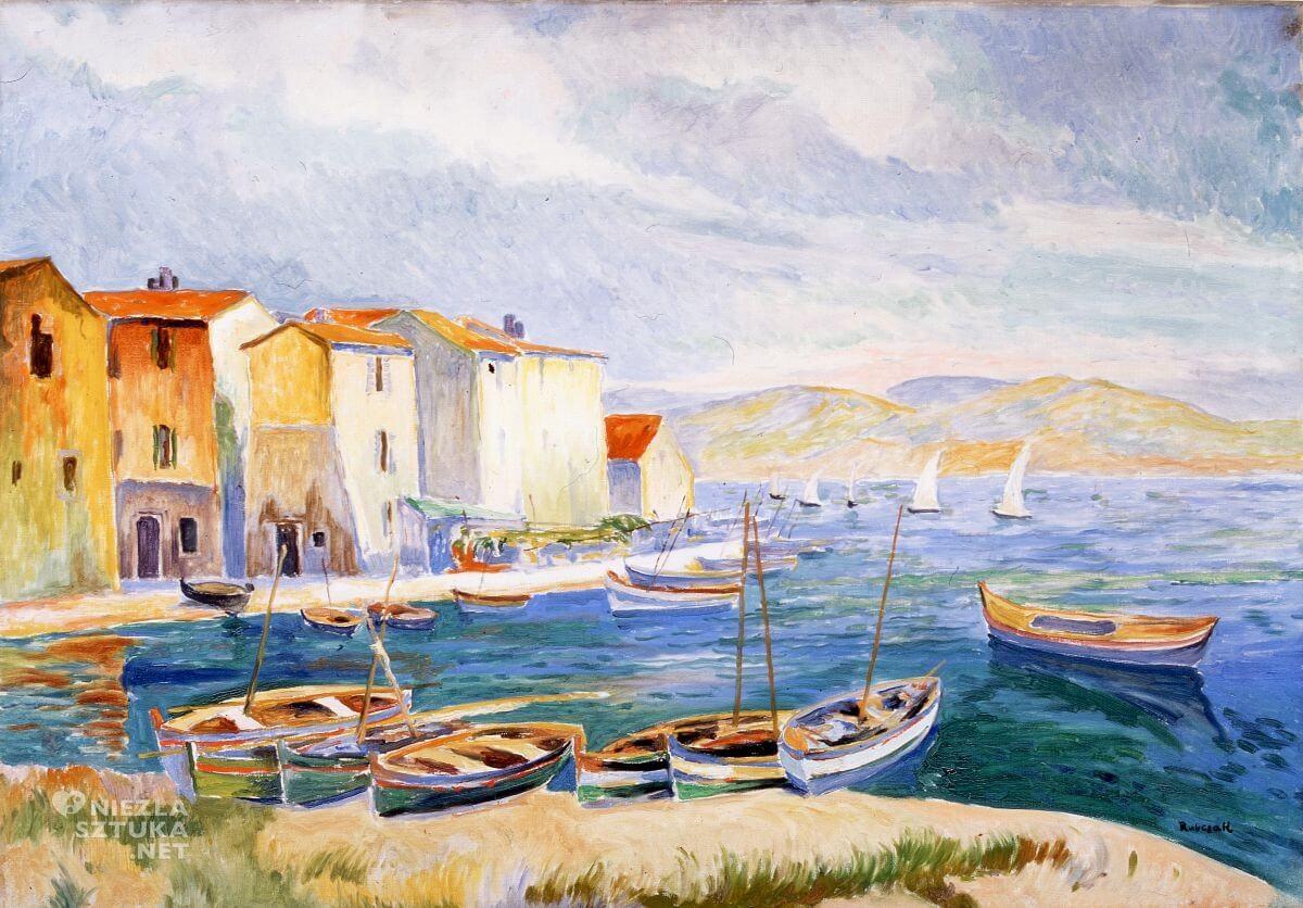 Jan Rubczak, Krajobraz prowansalski, port w Martigues, pejzaż, sztuka polska, malarstwo polskie, Niezła sztuka