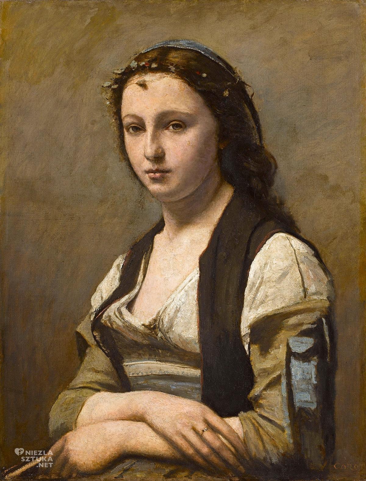 Camille Corot, Kobieta z perłą, Mona Lisa, Luwr, sztuka francuska, portret, kobieta, Niezła sztuka