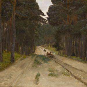 Józef Chełmoński, Droga w lesie, pejzaż, sztuka polska, malarstwo polskie, Niezła sztuka