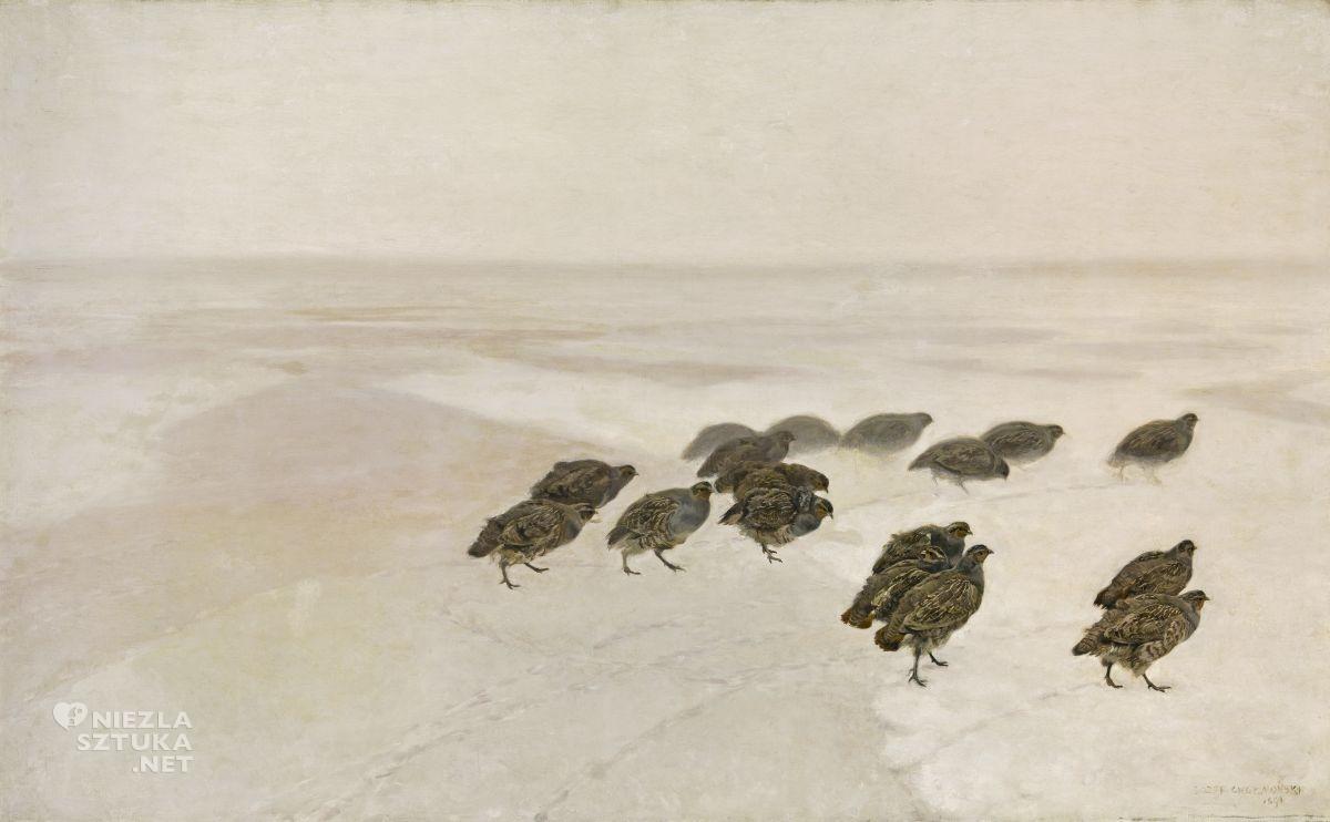 Józef Chełmoński, Kuropatwy na śniegu, sztuka polska, malarstwo polskie, Muzeum Narodowe w Warszawie, Niezła sztuka