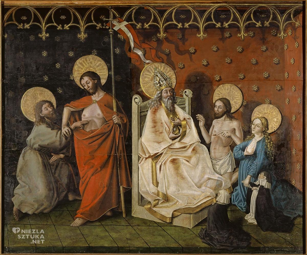 Konrad Witz, Niewierny Tomasz, Chrystus i Maria wstawiający się do Boga Ojca, sztuka religijna, Niezła Sztuka