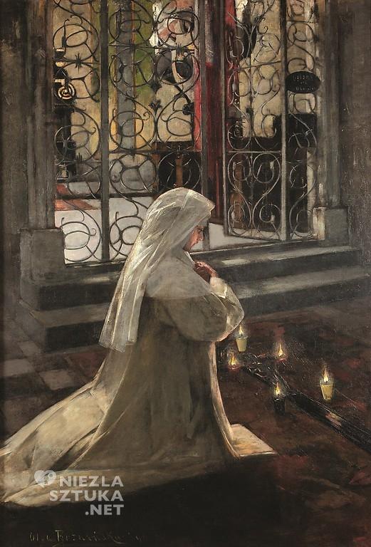 Olga Boznańska, w Wielki Piątek, zakonnica, zakonnica modląca się, sztuka polska, malarstwo polskie, bazylika mariacka, Niezła sztuka