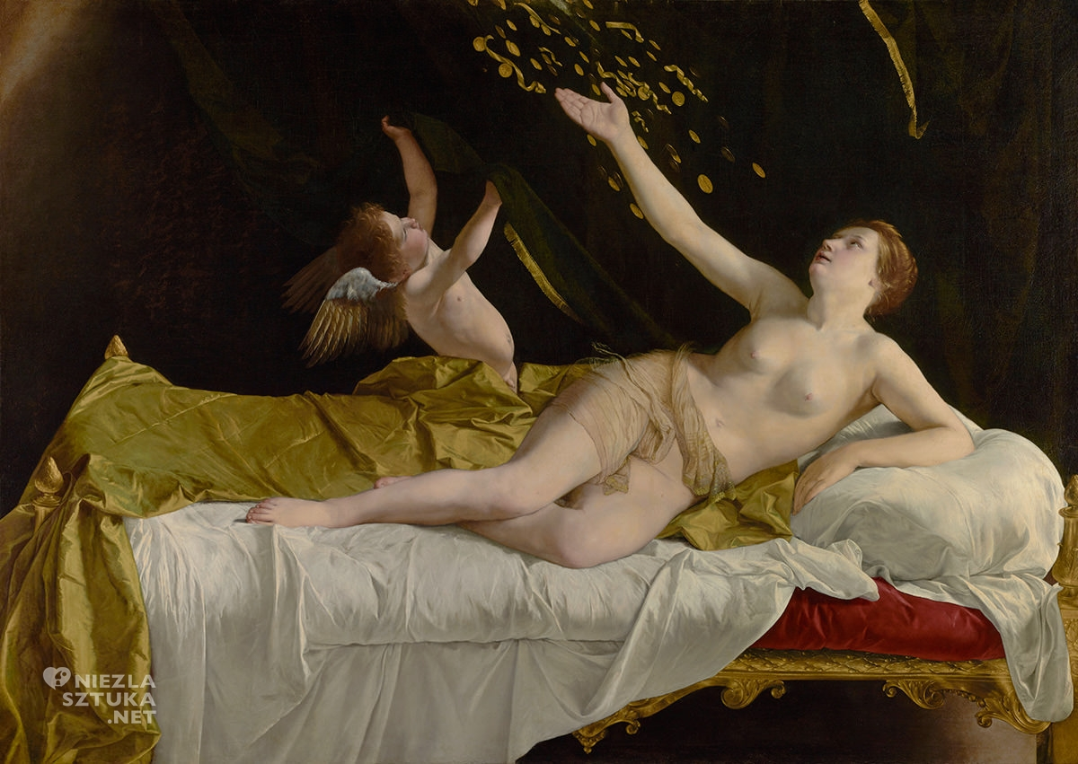 Orazio Gentileschi, Danae, złoty deszcz, Getty Museum, Danae, Los Angeles, Niezła sztuka