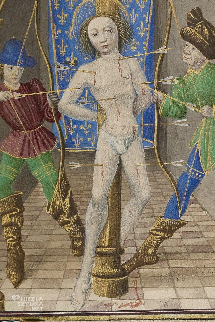 Święty Sebastian, manuskrypt, iluminacje, sztuka średniowieczna, Niezła sztuka