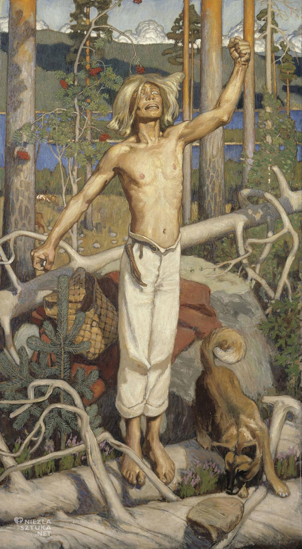 Akseli Gallen-Kallela, Przeklinający Kullervo, sztuka fińska, sztuak europejska, malarstwo, Niezła Sztuka