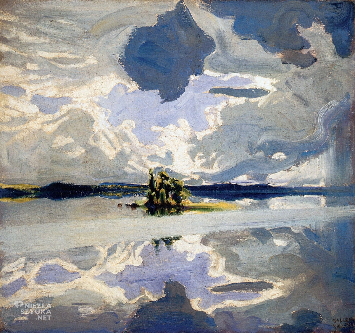 Akseli Gallen-Kallela, Chmury nad jeziorem, sztuka fińska, sztuka europejska, malarstwo, Niezła Sztuka