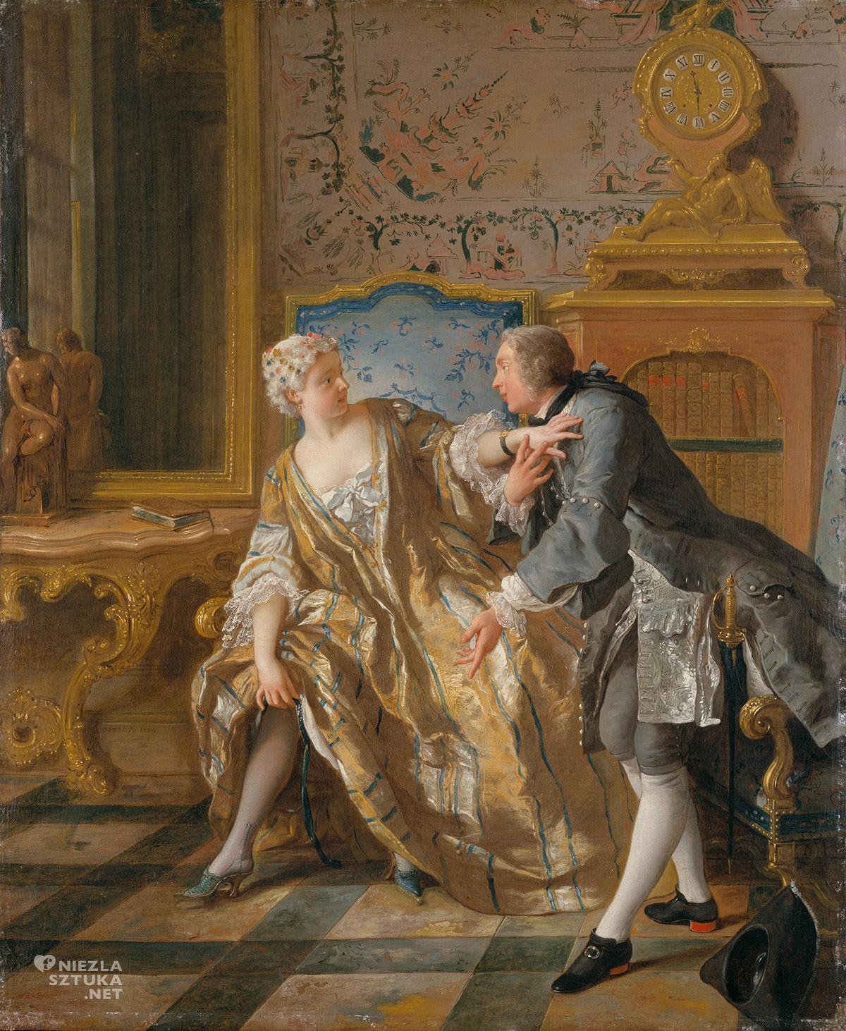 Jean-François de Troy, Podwiązka, malarstwo francuskie, rokoko, moda, Niezła sztuka