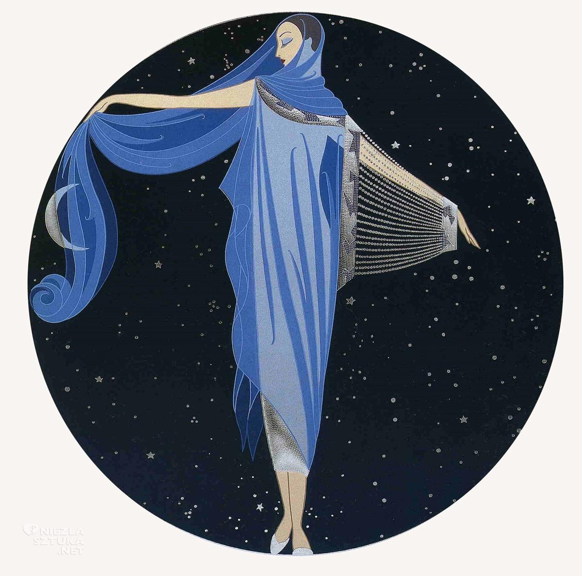 Erté, Księżycowe światło, Romain de Tirtoff, moda, grafika, ilustracja, Niezła Sztuka