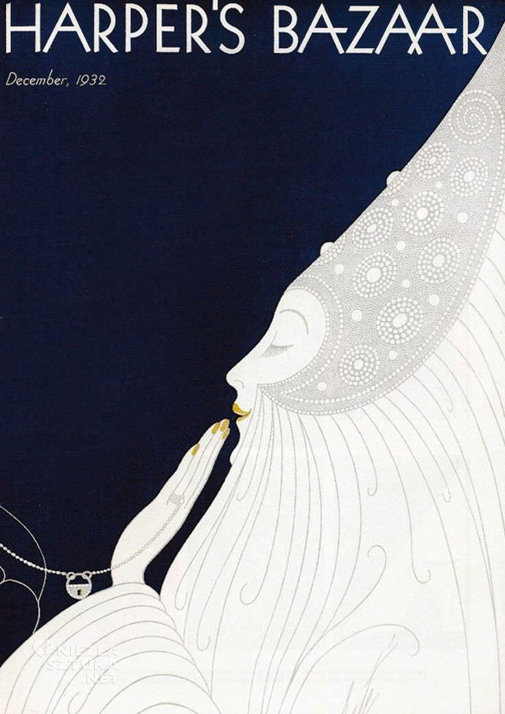 Erté, Harper's Bazaar, okładka, Romain de Tirtoff, moda, grafika, ilustracja, Niezła Sztuka