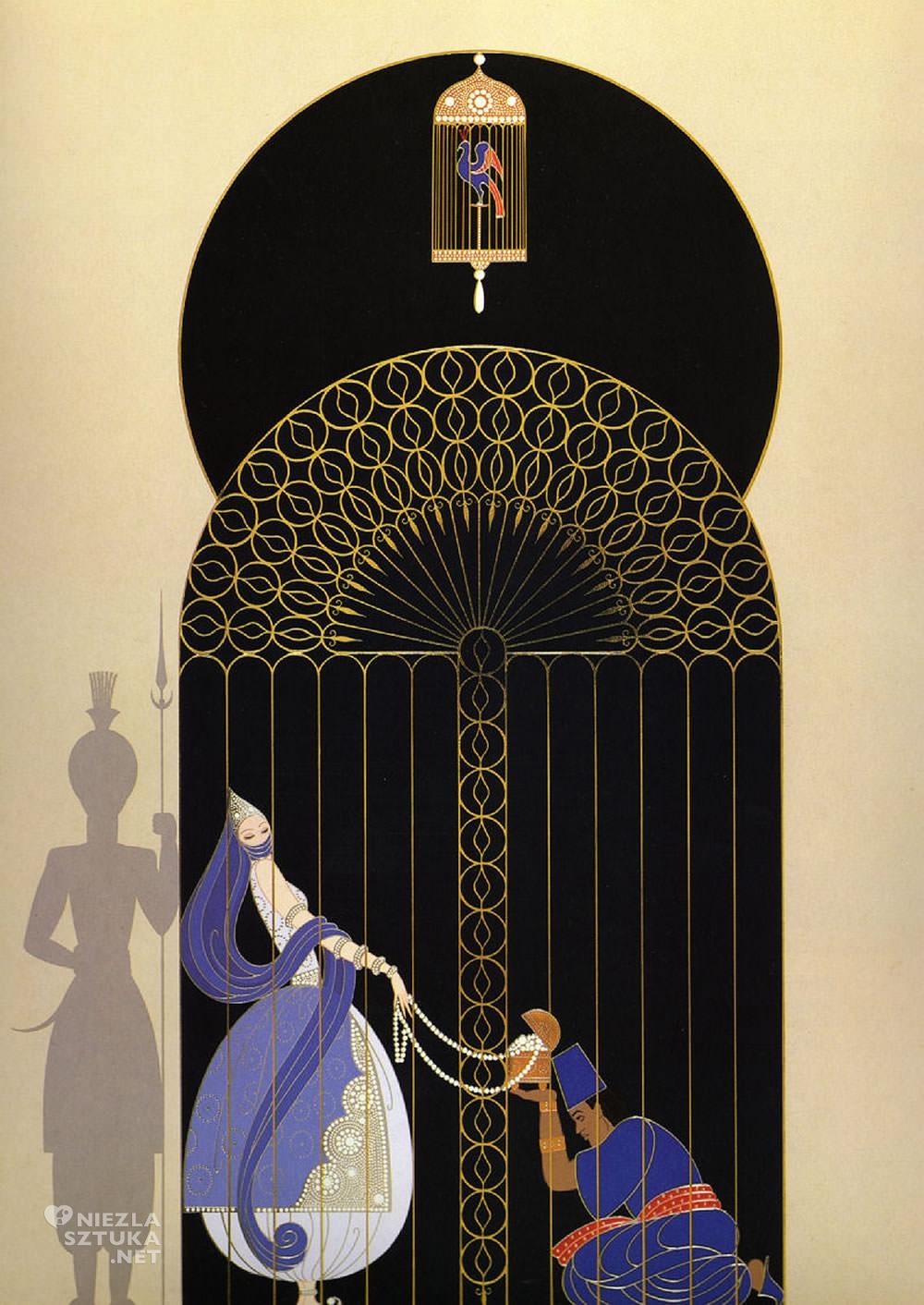 Erté, Ptak w klatce, Romain de Tirtoff, moda, grafika, ilustracja, Niezła Sztuka