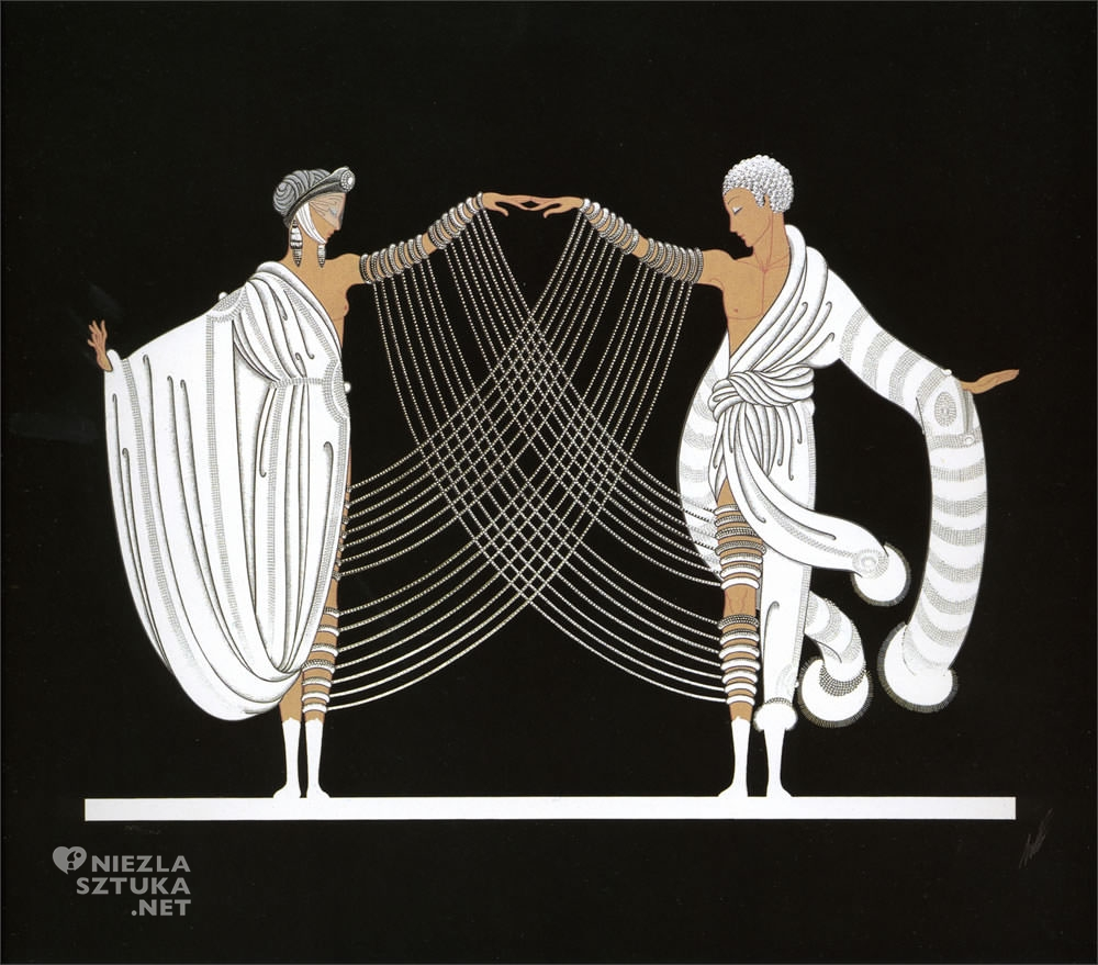 Erte, Taniec małżeński, Romain de Tirtoff, moda, grafika, ilustracja, Niezła Sztuka