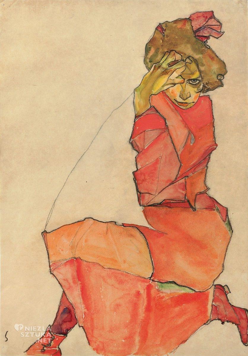 Egon Schiele, Klęcząca w pomarańczowo-czerwonej sukience, sztuka austriacka, Niezła Sztuka
