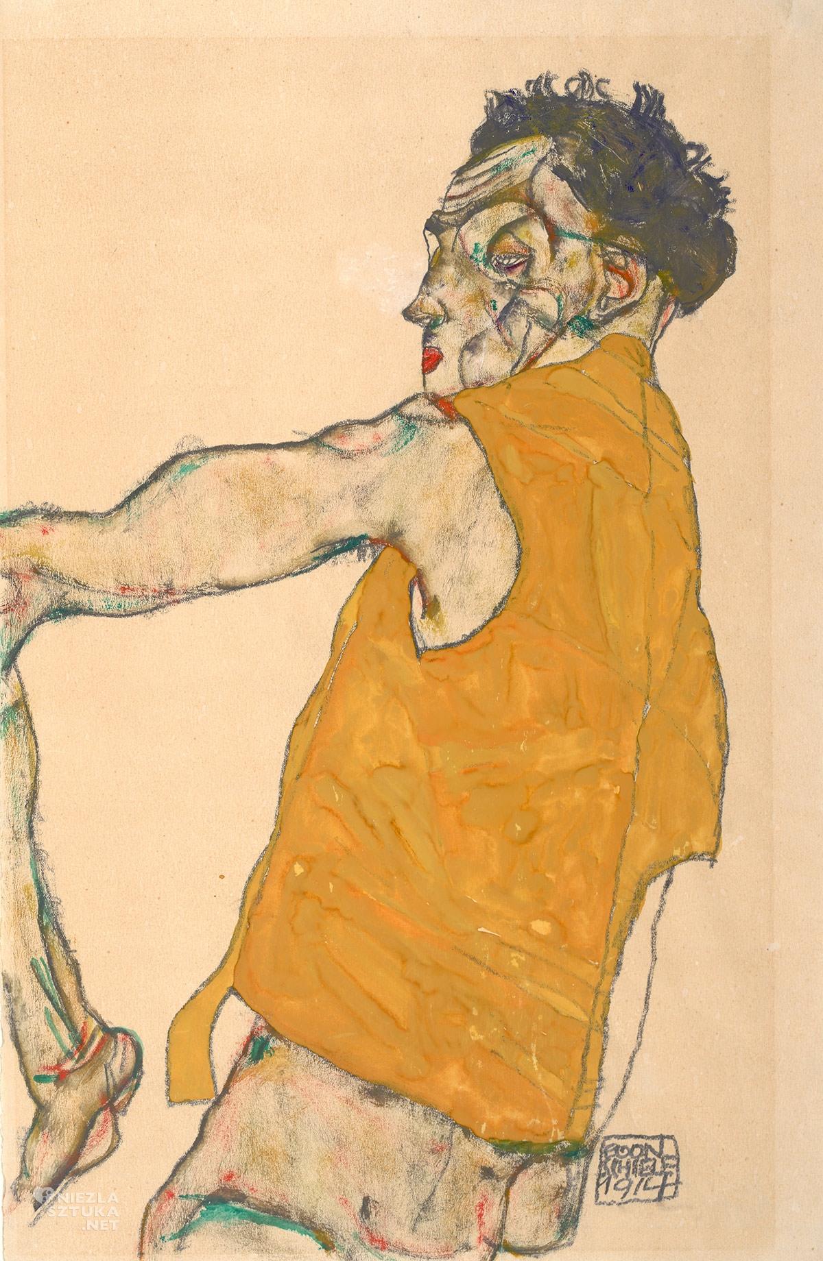 Egon Schiele, Autoportret w żółtej kamizelce, Autoportret artysty, sztuka austriacka, Niezła Sztuka