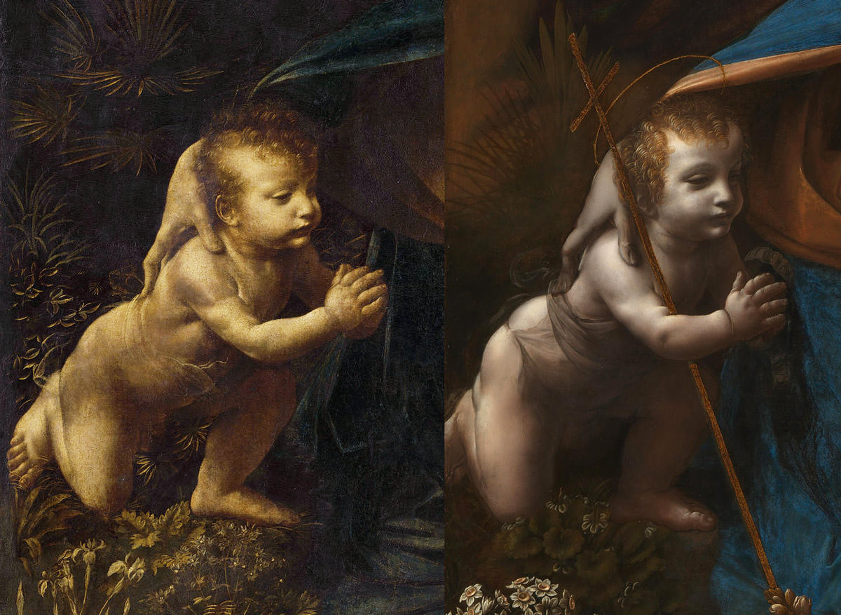 Leonardo da Vinci, Luwr, Londyn, Madonna wśród skał, Madonna w grocie, sztuka włoska, malarstwo włoskie, Niezła sztuka