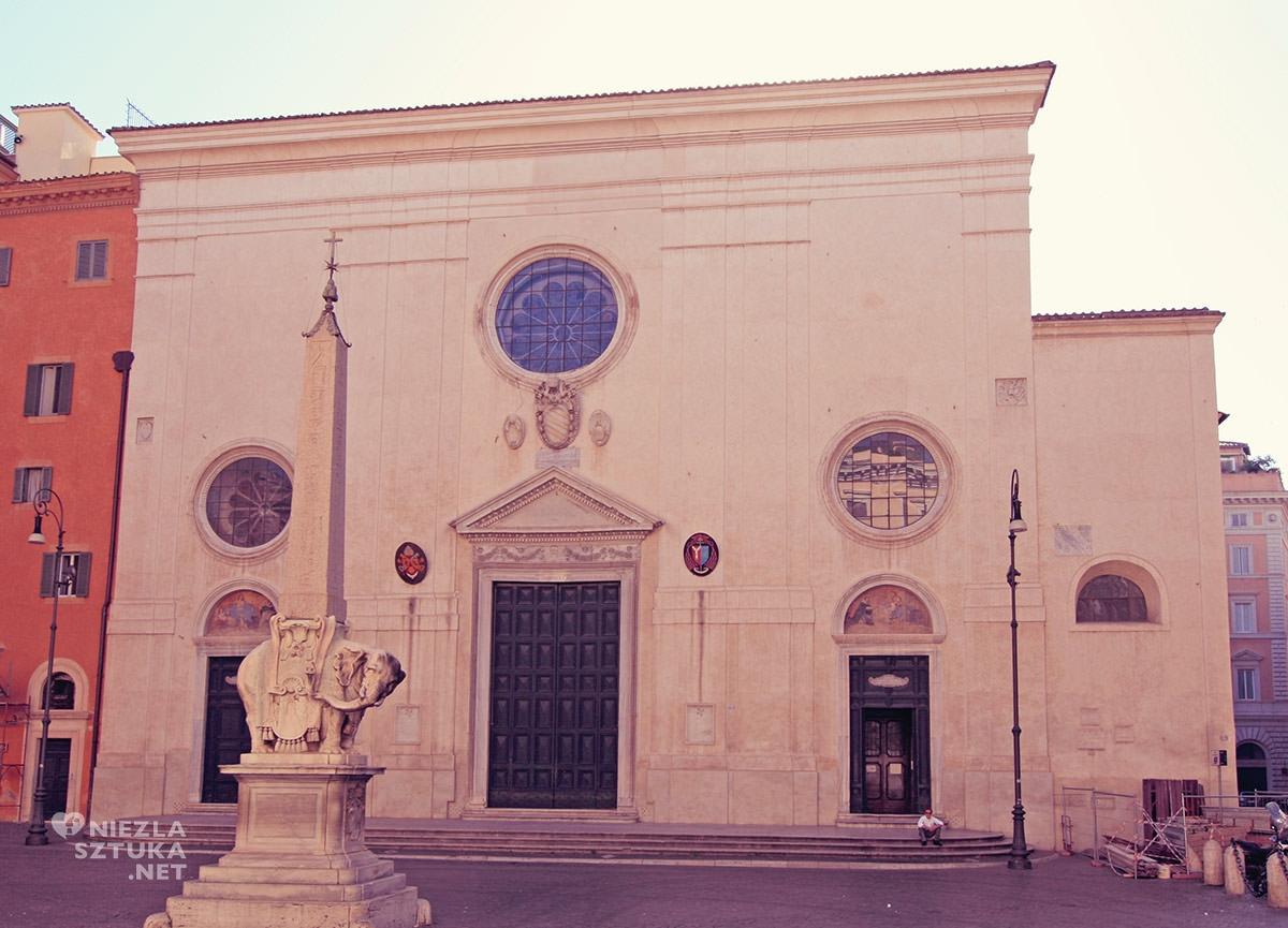 Gian Lorenzo Bernini, kościół Santa Maria sopra Minerva, obelisk, słoń, sztuka włoska, rzeźba, Rzym, przewodnik po Rzymie, sztuka w Rzymie, Niezła sztuka