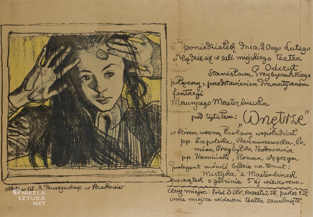 Stanisław Wyspiański, afisz, dziewczynka, plakat do odczytu Przybyszewskiego, sztuka polska, Niezła sztuka