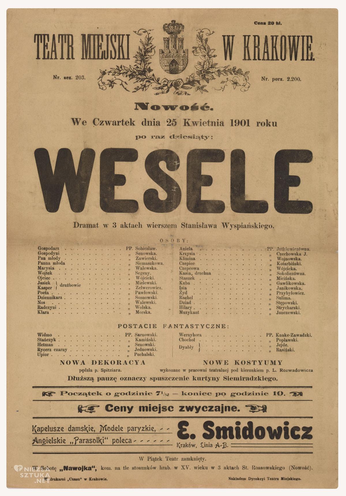 """""""Wesele"""". Teatr Miejski w Krakowie, Muzeum Narodowe w Krakowie, Niezła sztuka"""