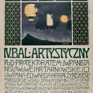 Władysław Skoczylas, plakat, bal artystyczny, sztuka polska, Niezła sztuka