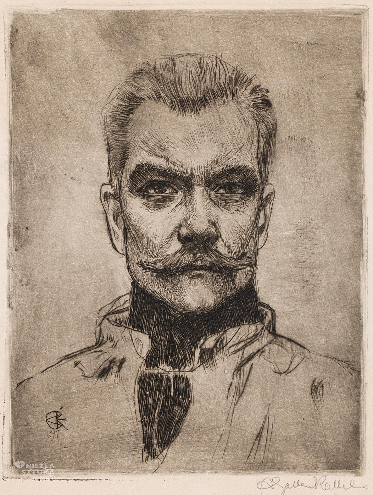 Akseli Gallen-Kallela, Autoportret, en face, sztuka fińska, autoportret artysty, sztuka europejska, Niezła Sztuka
