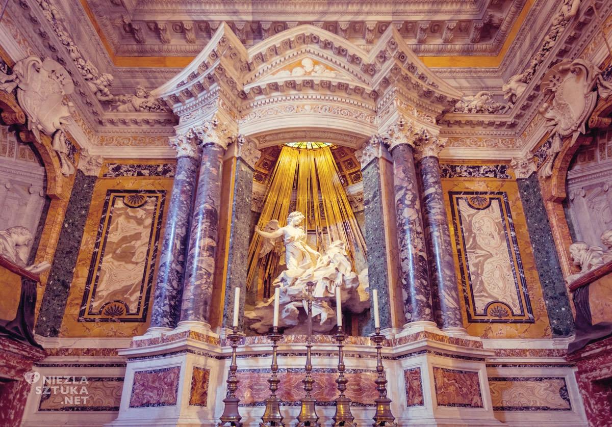 Gian Lorenzo Bernini, Ekstaza św. Teresy, Kaplica Cornaro, kościół Santa Maria della Vittoria, sztuka włoska, rzeźba, Rzym, przewodnik po Rzymie, sztuka w Rzymie, Niezła sztuka