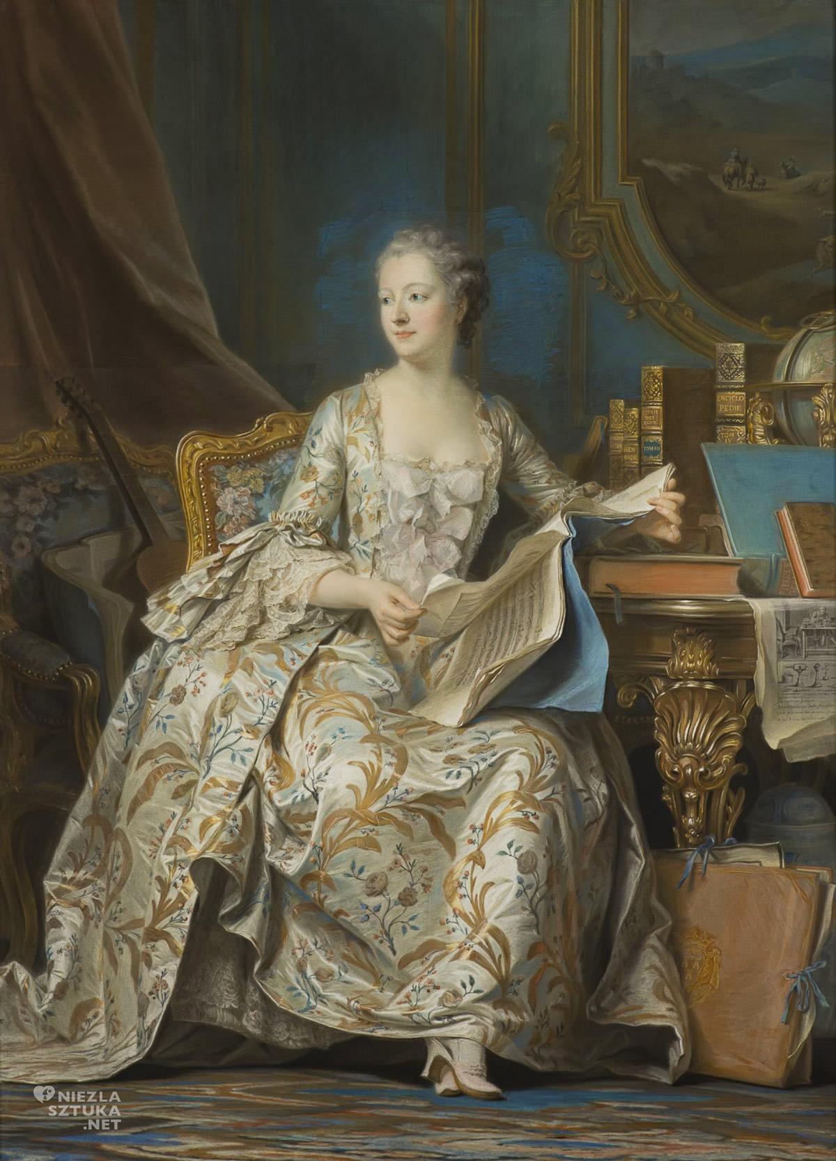 Maurice Quentin de La Tour, Portret Markizy Pompadour, Portret madame de Pompadour, malarstwo francuskie, rokoko, moda, Niezła Sztuka