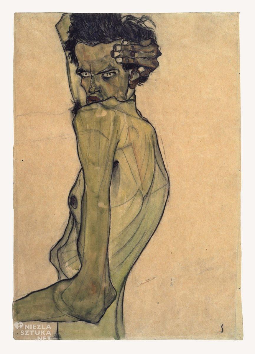 Egon Schiele, Autoportret z ramionami nad głową, autoportret artysty, sztuka austriacka, Niezła Sztuka