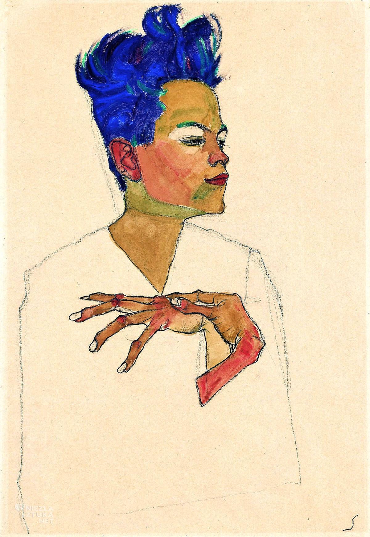 Egon Schiele, Autoportret z dłońmi na klatce piersiowej, autoportret artysty, sztuka austriacka, Niezła Sztuka