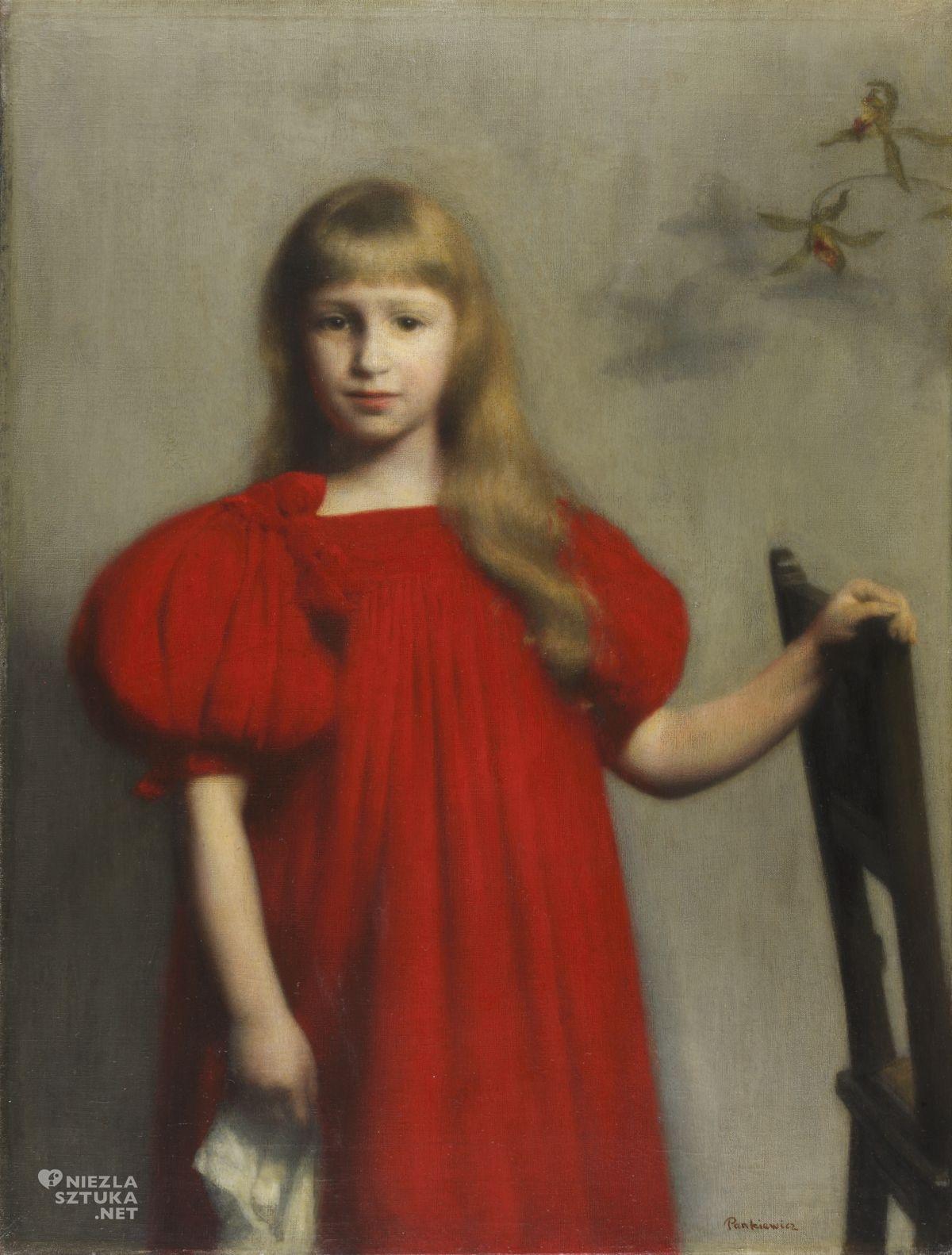 Józef Pankiewicz, Portret dziewczynki w czerwonej sukience, Portret Józefy Oderfeldówny, dziecko w sztuce, sztuka polska, malarstwo polskie, Niezła sztuka