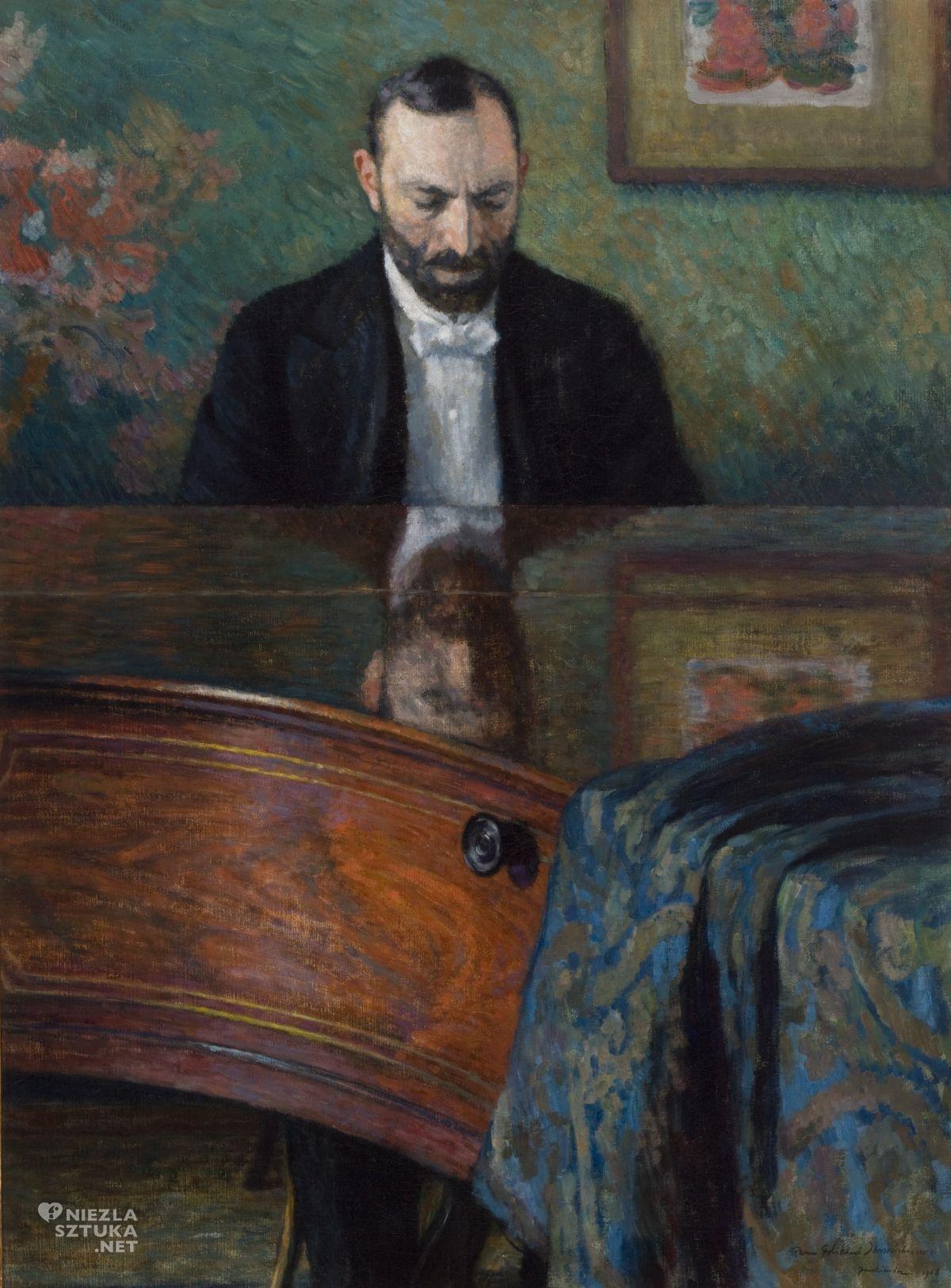 Józef Pankiewicz, Feliks Jasieński, Portret Feliksa Jasieńskiego przy fortepianie, sztuka polska, Niezła sztuka